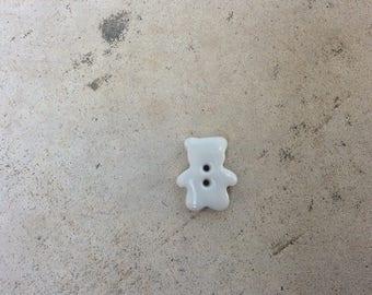 Button mini-ourson porcelain white.