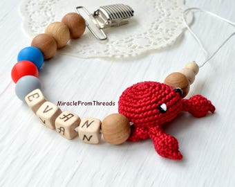 Pacifier chain with name, Beaded pacifier clip, Pacifier holder, Dummy chain, Dummy clip, Crab Marine color, Custom pacifier, Car seat toy