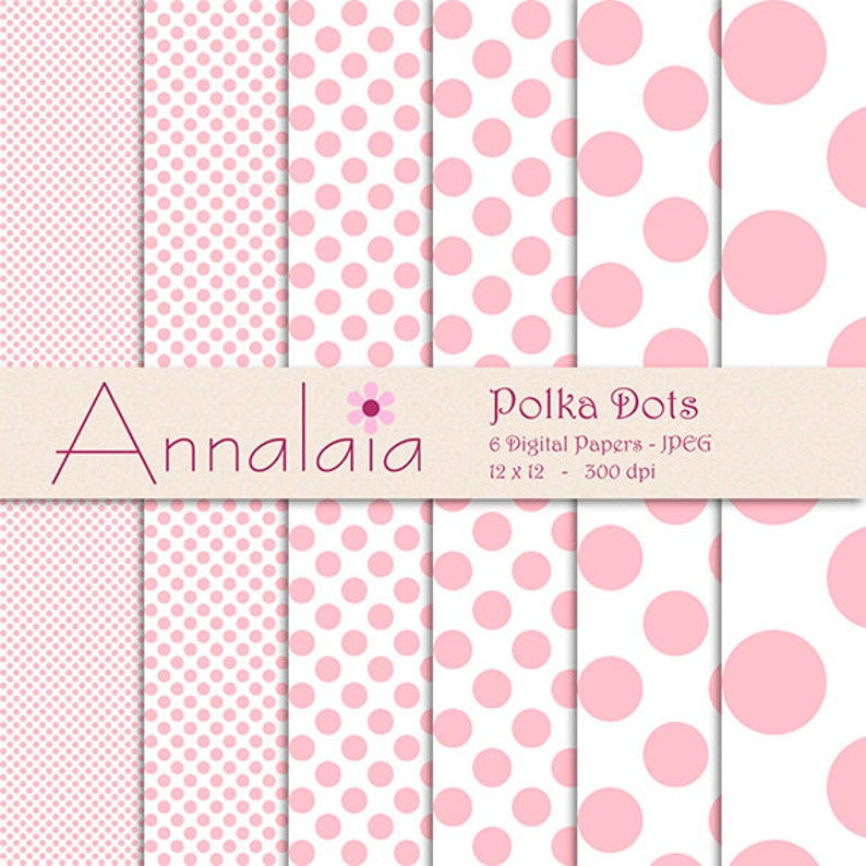 Download Istantaneo Digitale Carta Pack Rosa E Pois Bianchi Etsy