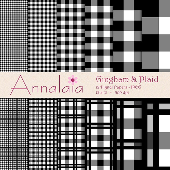 Instant Download Digital Paper Pack Black And White Gingham Etsy