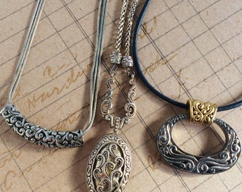 Gift for her Girlfriend gift jewelry Southwest and Victorian Necklaces Collection of 3 Silver and Gold Vintage Necklaces