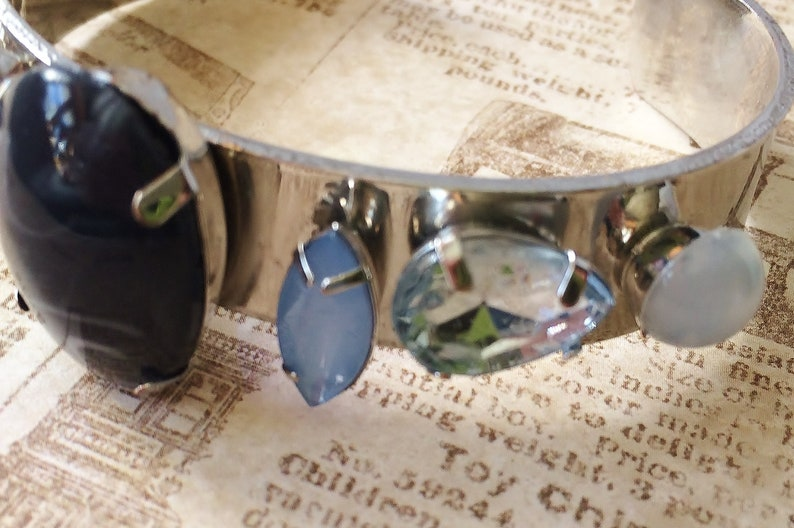 Recycled vintage Blue stone bangle bracelet Multi shades of blue Faux moonstones Chunky silver bangle Handmade blue stone bracelet
