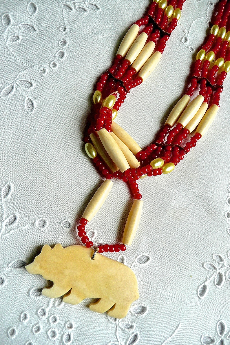 Tribal Womans Necklace Vintage Necklace Native Alaskan Jewelry Beaded Necklace Jewellry Hand Carved Necklace Long Necklace