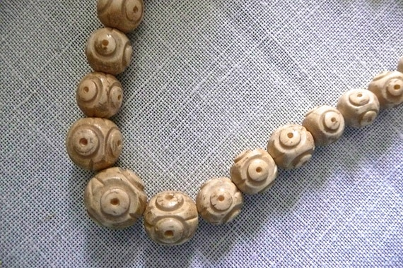 Antique Beaded Necklace - Antique Oriental Carved