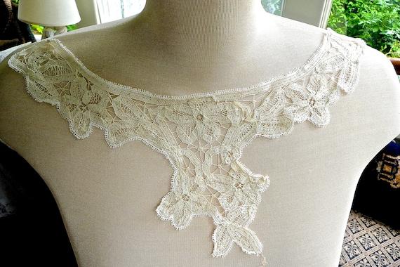 Antique Mechlin Lace Collar - Mechlin Lace Floral… - image 6
