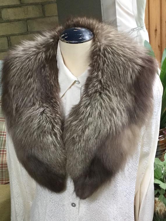 Vintage Fur Collar - Silver Fox Collar - Luxurious