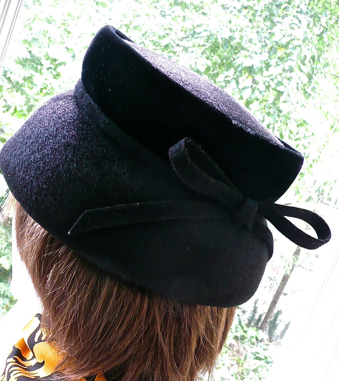0fc560b369d4bc SALE Vintage Hat Womens Hat Black Formal Hat Wool Felt   Etsy