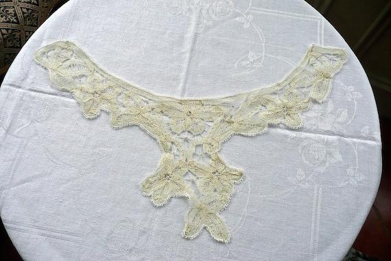 Antique Mechlin Lace Collar - Mechlin Lace Floral… - image 7