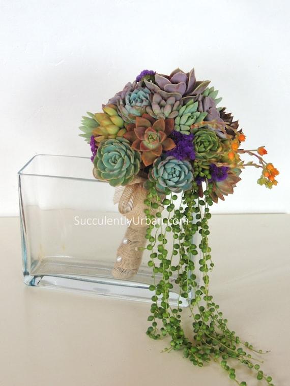 Colorful succulent bouquet with cascading senecio