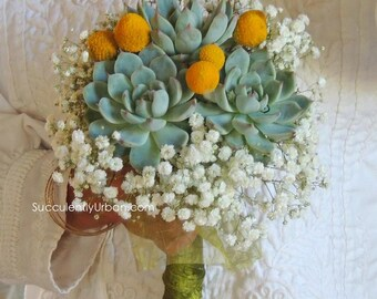 Becca-Triple succulent bouquet  and matching head band