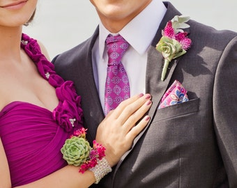 Matching Prom boutonniere and corsage-beaded band