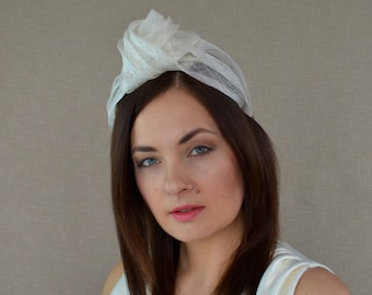 79d07426cd7 Ivory Straw Turban with Optional Birdcage Veil - Ivory Turban Headband -  White Turban with Veil - Bridal Turban - Wedding Turban Headband