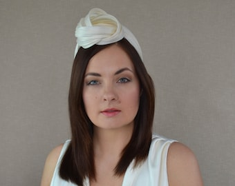 813d16a106d Ivory Silk Abaca Straw Turban with Optional Birdcage Veil - Ivory Turban  Headband - White Turban - Bridal Turban - Wedding Turban Headband