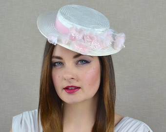 Ivory Boater Style Hat with Pink and Ivory Silk Flowers - Ivory Percher - Ivory and Pink Fascinator - Mother of the Bride Hat -  Races hat