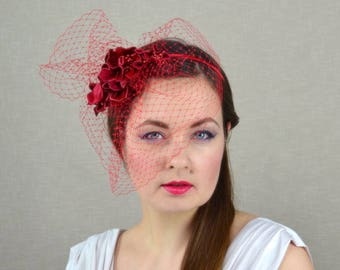 Red Flower Fascinator with Birdcage Veil - Red Fascinator - Red Wedding - Red Headpiece - Red Headband - Birdcage Veil - Veil Fascinator