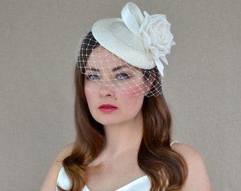 Ivory Pillbox Hat with Birdcage Veil and Rose - 50s wedding hat - Christening Hat - Ivory Veil Fascinator - Bridal Hat with Birdcage Veil
