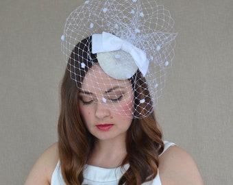 White Pillbox Hat with Birdcage Veil and Velvet Bow - White Fascinator - White Cocktail Hat - White Hat with Veil - Bridal Hat with veil