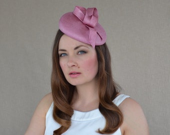 Dusky Pink Pillbox Hat with Bow - Pink Pillbox Hat - Pink Fascinator - Mother of the Bride Hat - Mother of the Groom Hat - Pink Cocktail Hat