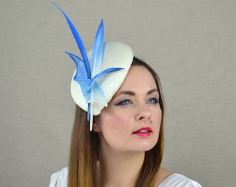 Ivory Pillbox Hat with Blue Ombre Feathers - Ivory Hat - Ivory and Blue Fascinator - Mother of the Bride Hat -  Kentucky Derby Fascinator