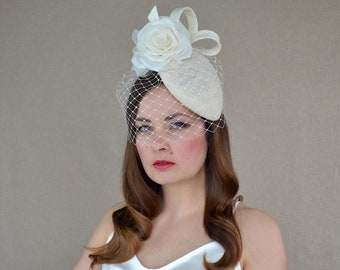 Cream Teardrop Shaped Pillbox Hat with Birdcage Veil and Rose - Birdcage Veil Hat - Christening Hat - Cream Cocktail hat - Cream Fascinator