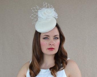 Ivory Felt Pillbox Hat with Silk Rose - Bridal Fascinator - White Cocktail Hat - Christening Hat - Ivory Pillbox Hat