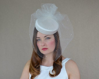 Ivory Duchess Silk Bridal Pillbox Hat with Long Birdcage Veil - Bridal Hat - Ivory Pillbox Hat - Bridal Veil Fascinator - Wedding Headpiece