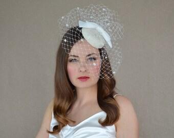 Cream Pillbox Hat with Birdcage Veil and Velvet Bow - Ivory Fascinator - Ivory Cocktail Hat - Cream Hat with Veil - Bridal Hat with veil