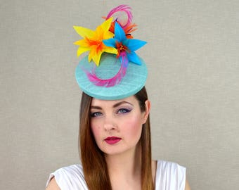 Aqua Pillbox Hat with Colorful Feather Flowers  - Blue Fascinator - Yellow, Orange, Turquoise, Pink - Wedding, Ascot, races hat