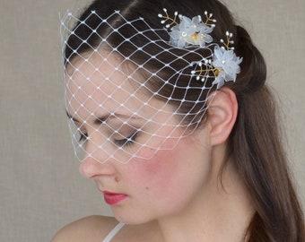 Bridal Hair Comb Set with Birdcage Veil - Wedding Hair Combs - Pearl Hair Comb - Wedding Hairpiece - Bandeau Bridal Veil - Bridal Hairpiece