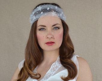 Bridal Veil Headband with Tulle and Birdcage Veil - Bridal Veil - Bridal headpiece - Bridal Headwrap Veil - Tulle Headband - Boho Wedding