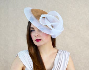 Gold Saucer Hat with White Crinoline Swirl Detail - Gold and White Hat -  Mother of the Bride Hat - Ascot Hat - Races Hat - Derby c18b7928da4