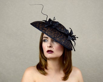 Black and Copper Saucer Hat with Black Leather Lilies and Feather Quill - Black and Copper Hat - Ascot Hat - Races Hat - Derby