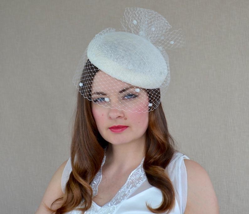 Ivory Pillbox Hat with Birdcage Veil Cream Fascinator  53a31ba62d34