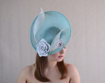Aqua Blue Saucer Hat with Off-White Leather Roses - Light Blue and White Hat - Wedding, Tea Party, Ascot, Races Headpiece