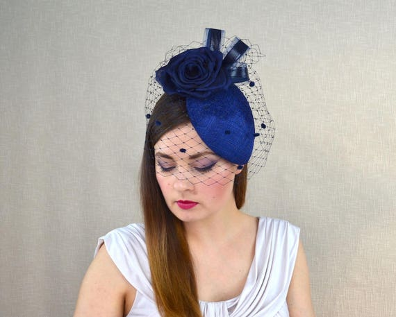 b65622661f7eb Dark Blue Pillbox Hat with Birdcage Veil and Silk Rose - Dark Blue and Navy  Hat - Mother of the Bride Hat - Ascot Hat