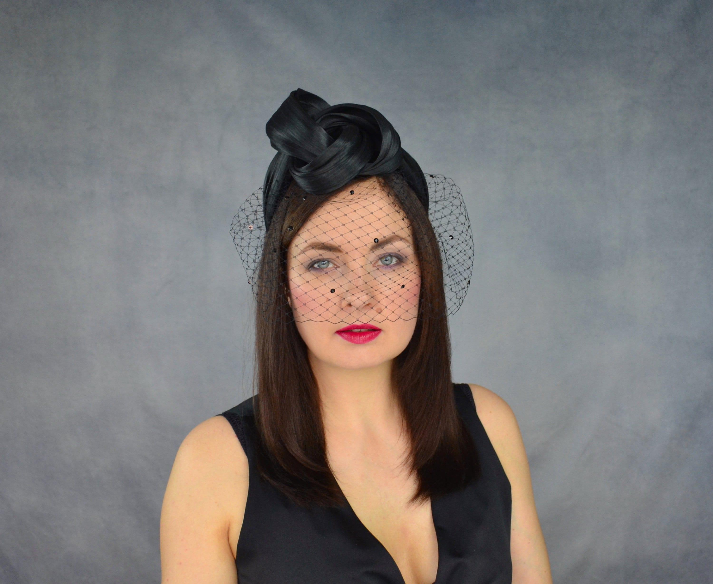 Black Turban with Birdcage Veil Black Turban Headband  8ee76007297
