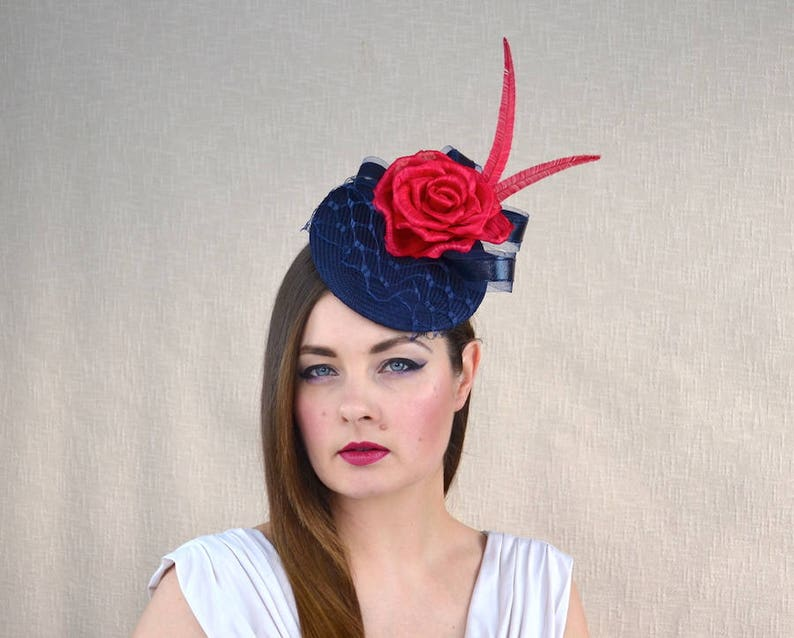 1924842806be0 Navy Blue Pillbox Hat with Veil and Red Silk Abaca Rose - Blue and Red  Fascinator - Mother of the Bride Hat - Wedding, Ascot, races hat