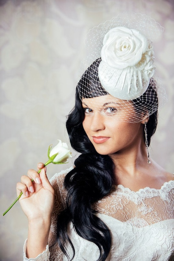 436a0a9159eea Ivory Bridal Pillbox Hat with Birdcage Veil White Bridal