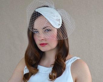 Bridal Silk Fascinator with Birdcage veil and Swarovski Crystals - Bridal Fascinator - White Cocktail Hat - Birdcage Veil Fascinator