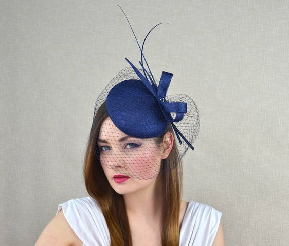 ea199faa Navy Blue Pillbox Hat with Birdcage Veil and Quills Dark | Etsy