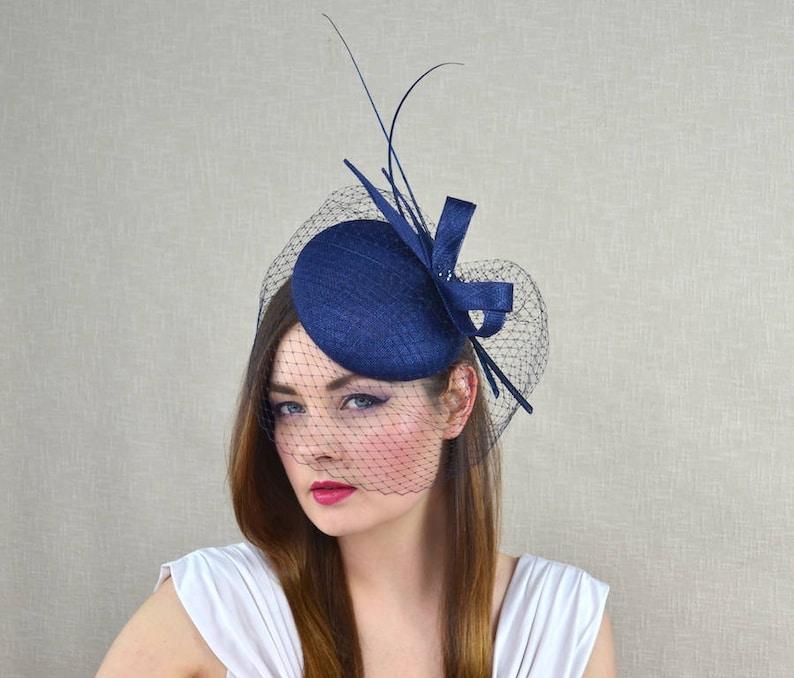 Navy Blue Pillbox Hat with Birdcage Veil and Quills Dark  0ddaa84902f9