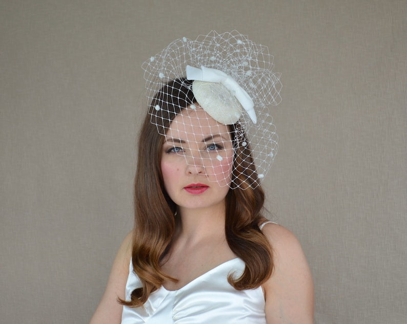 6322d49b Cream Pillbox Hat with Birdcage Veil and Velvet Bow Ivory | Etsy