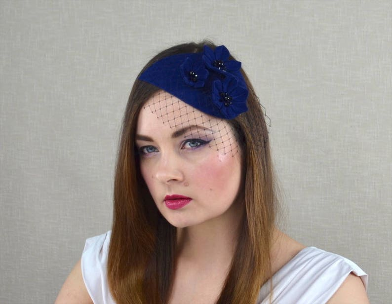 52636e94e0dc6 Blue Felt Fascinator with Black Birdcage Veil Blue and Black
