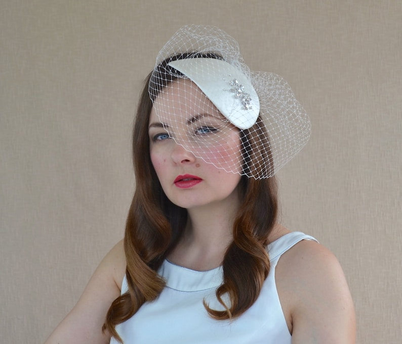 9aed0b162bed3 Bridal Duchess Silk Fascinator with Birdcage veil and