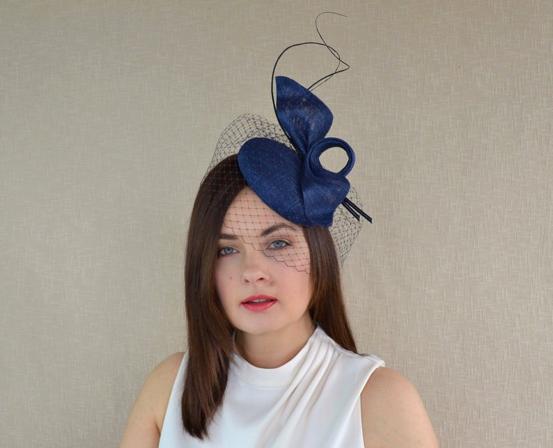 d6346bb5 Navy Pillbox Hat with Birdcage Veil and Quills Navy | Etsy