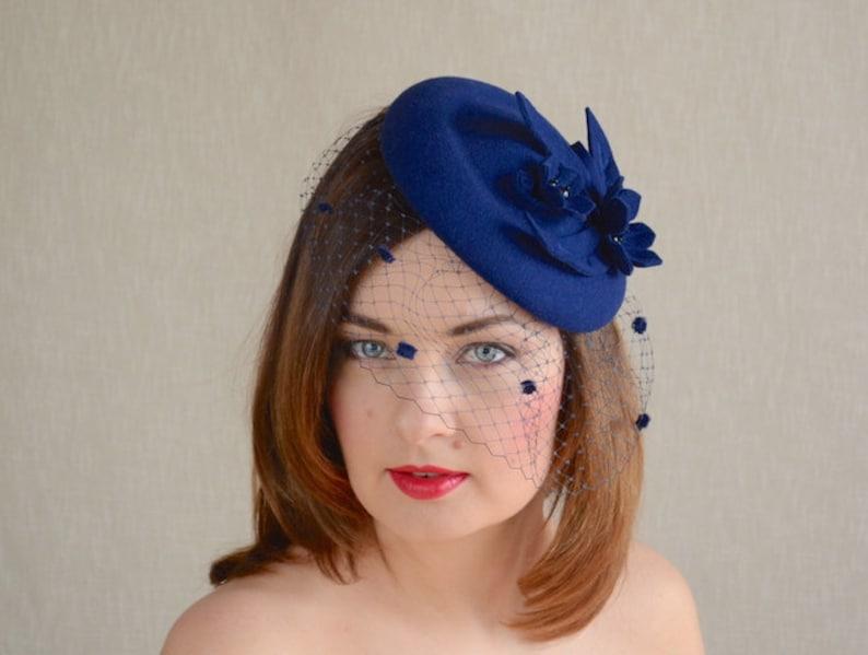 385d441c27f4e Blue Felt Pillbox Hat with Birdcage Veil Blue Fascinator