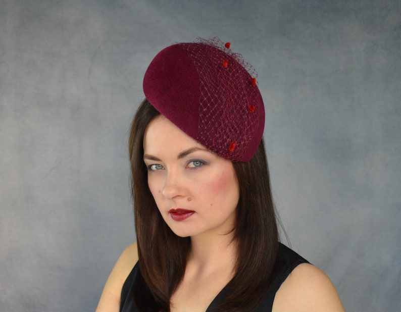 Red Wine Cocktail Hat Red Wine Fascinator with Birdcage Veil Burgundy Pillbox Hat with Two Tone Birdcage Veil Burgundy Fascinator Hat