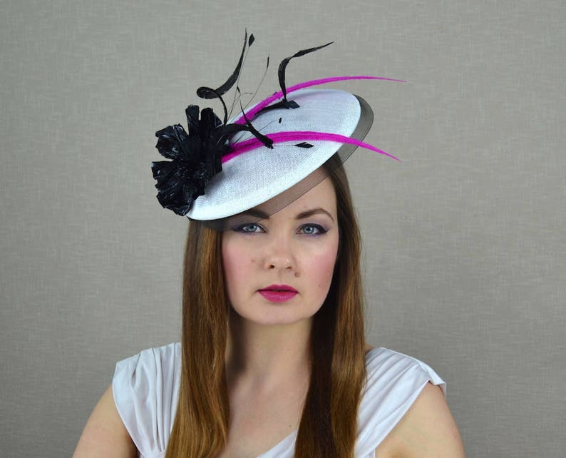 e25bb38f39616 White Hat with Black Leather Flower and Feathers Kentucky