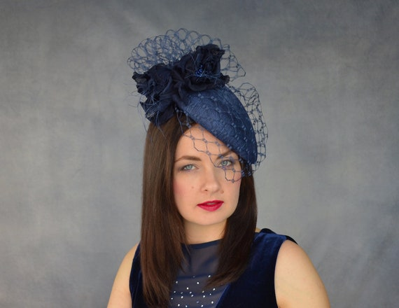 Navy Blue Pillbox Hat with Birdcage Veil and Silk Flowers  5a3b7238630