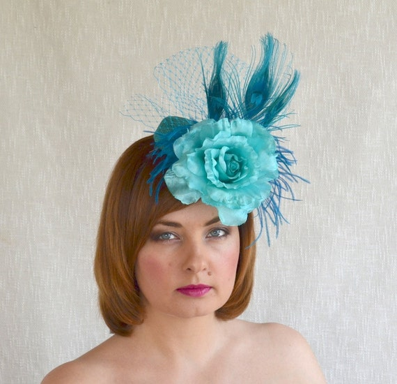 HAT SALE Teal Pillbox Hat Fascinator with fabric Rose  40c0bba290f5